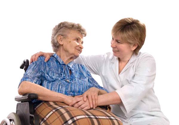 Frau mit Pflegerin